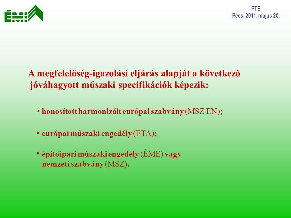 PTE Pécs, 2011. május 20. A megfelelőség-igazolási eljárás alapját a következő jóváhagyott műszaki specifikációk képezik: honosított harmonizált európ
