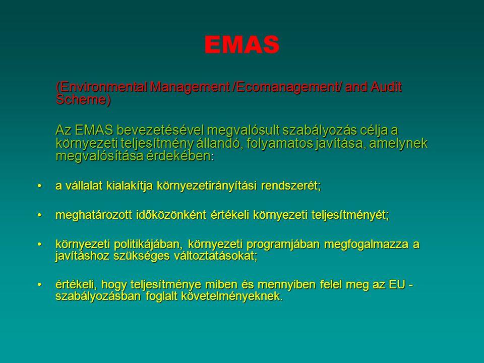 EMAS (Environmental Management /Ecomanagement/ and Audit Scheme) Az EMAS bevezetésével megvalósult szabályozás célja a környezeti teljesítmény állandó