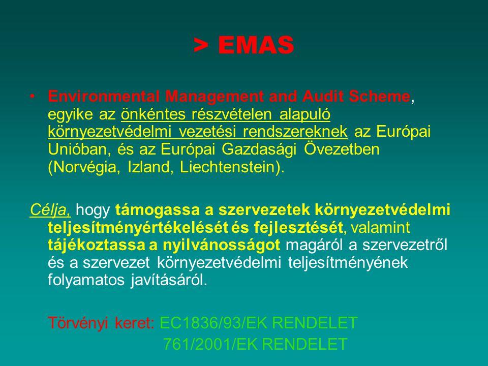 > EMAS Environmental Management and Audit Scheme, egyike az önkéntes részvételen alapuló környezetvédelmi vezetési rendszereknek az Európai Unióban, é