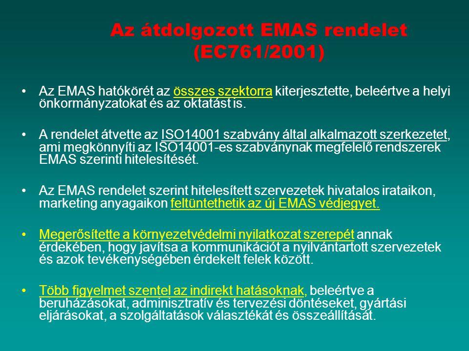 Az átdolgozott EMAS rendelet (EC761/2001) Az EMAS hatókörét az összes szektorra kiterjesztette, beleértve a helyi önkormányzatokat és az oktatást is.