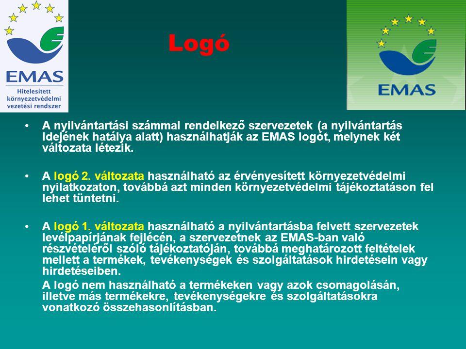 Logó A nyilvántartási számmal rendelkező szervezetek (a nyilvántartás idejének hatálya alatt) használhatják az EMAS logót, melynek két változata létez