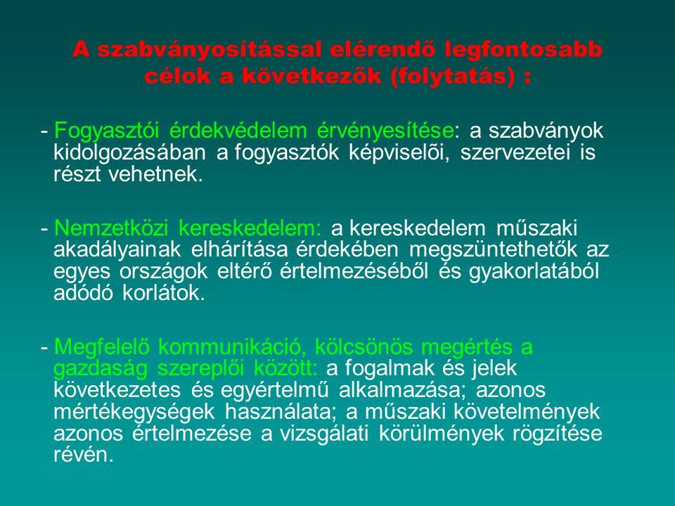 A szabványosítással elérendő legfontosabb célok a következők (folytatás) : - Fogyasztói érdekvédelem érvényesítése: a szabványok kidolgozásában a fogy