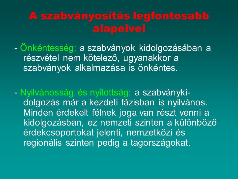A szabványosítás legfontosabb alapelvei - Önkéntesség: a szabványok kidolgozásában a részvétel nem kötelező, ugyanakkor a szabványok alkalmazása is ön