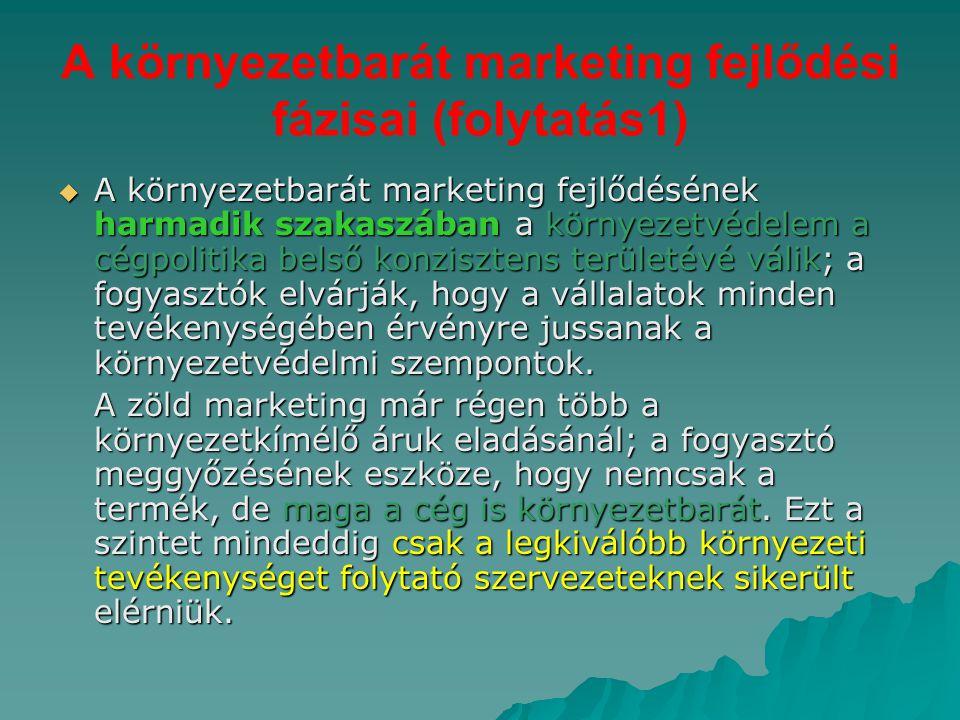 A környezetbarát marketing fejlődési fázisai (folytatás1)  A környezetbarát marketing fejlődésének harmadik szakaszában a környezetvédelem a cégpolit