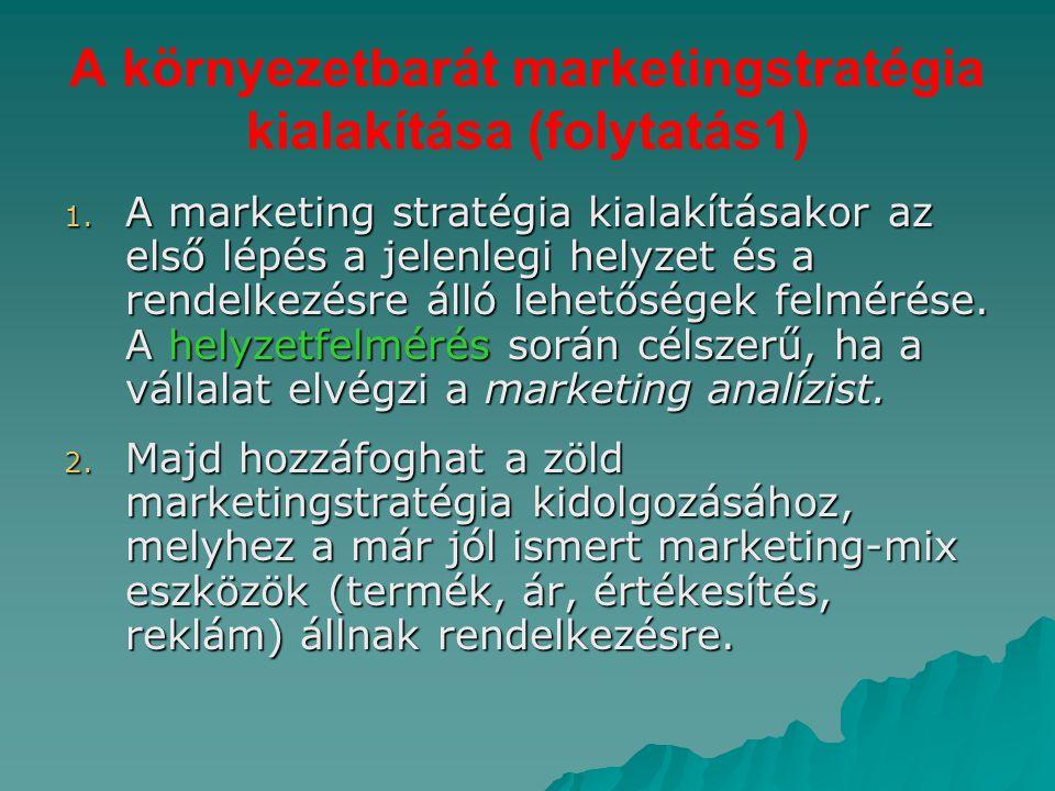 A környezetbarát marketingstratégia kialakítása (folytatás1) 1. A marketing stratégia kialakításakor az első lépés a jelenlegi helyzet és a rendelkezé