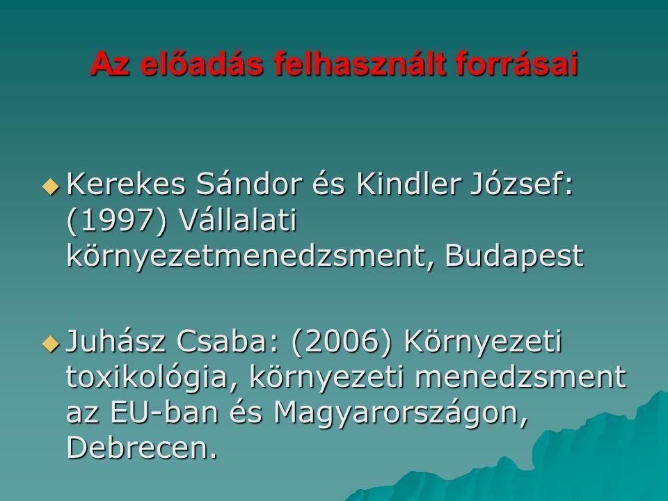 Az előadás felhasznált forrásai  Kerekes Sándor és Kindler József: (1997) Vállalati környezetmenedzsment, Budapest  Juhász Csaba: (2006) Környezeti