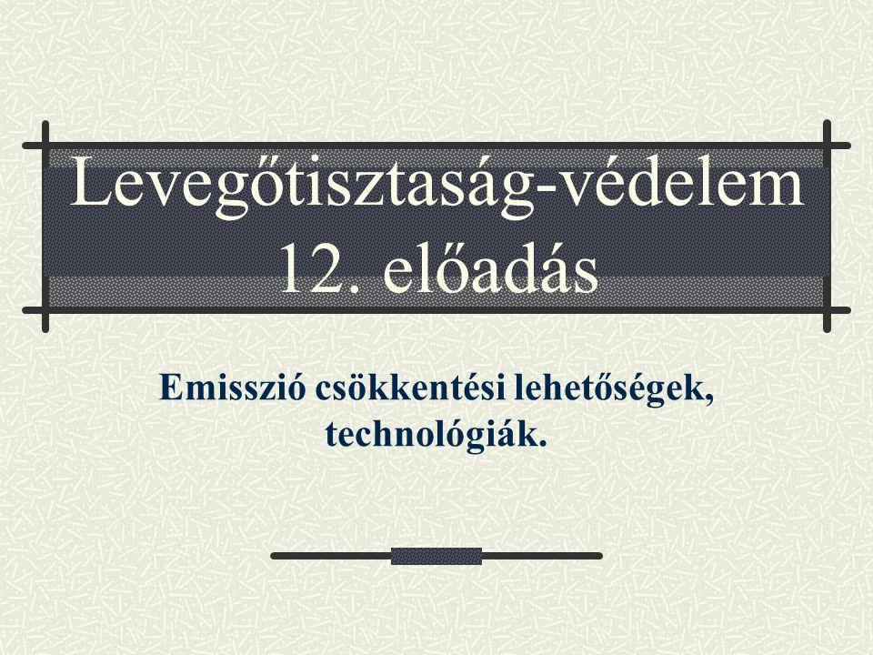 Levegőtisztaság-védelem 12. előadás Emisszió csökkentési lehetőségek, technológiák.