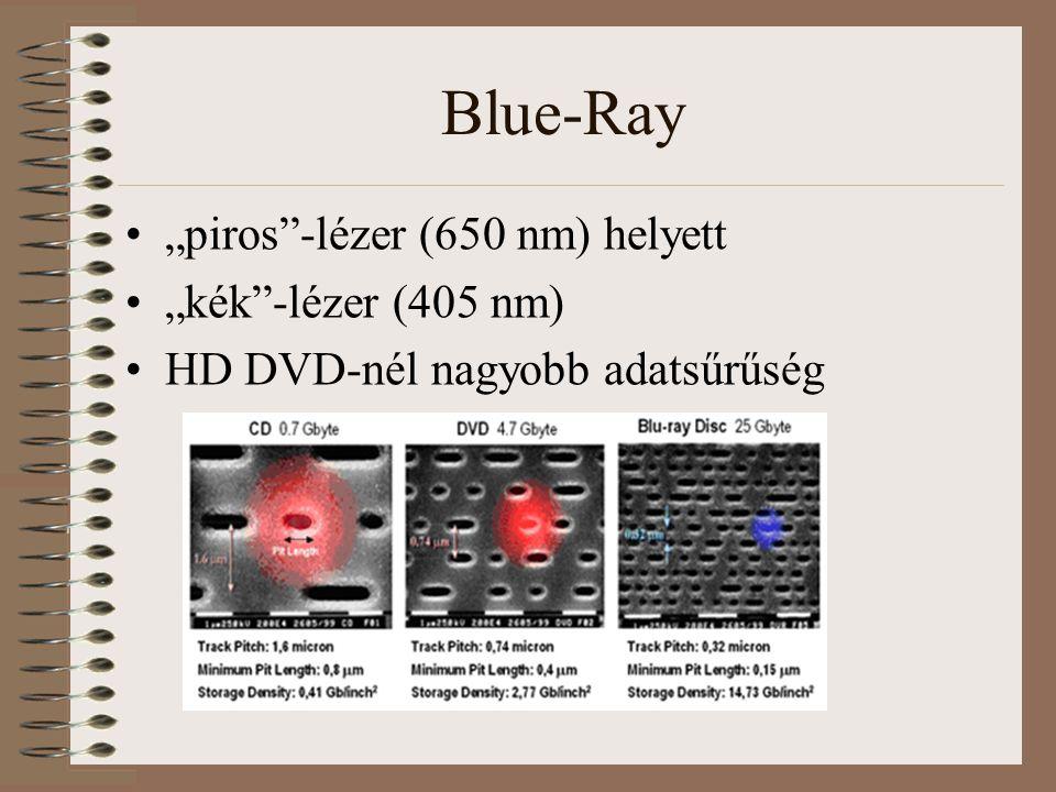 "Blue-Ray ""piros -lézer (650 nm) helyett ""kék -lézer (405 nm) HD DVD-nél nagyobb adatsűrűség"