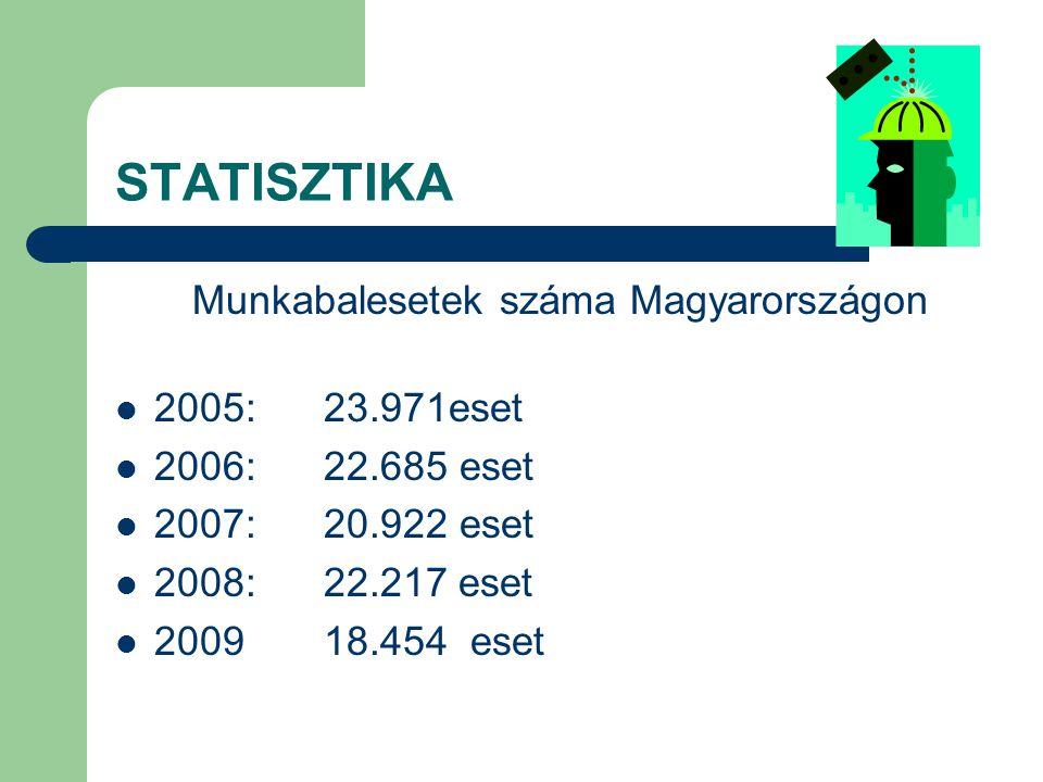 STATISZTIKA Halálos kimenetelű munkabalesetek száma Magyarországon: 2005:125 eset 2006:123 eset 2007:118 eset 2008: 116 eset Baranya 5 2009: 99 eset Baranya 6