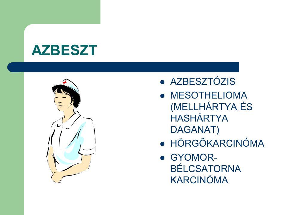 AZBESZT AZBESZTÓZIS MESOTHELIOMA (MELLHÁRTYA ÉS HASHÁRTYA DAGANAT) HÖRGŐKARCINÓMA GYOMOR- BÉLCSATORNA KARCINÓMA