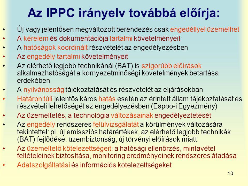 10 Az IPPC irányelv továbbá előírja: Új vagy jelentősen megváltozott berendezés csak engedéllyel üzemelhet A kérelem és dokumentációja tartalmi követe