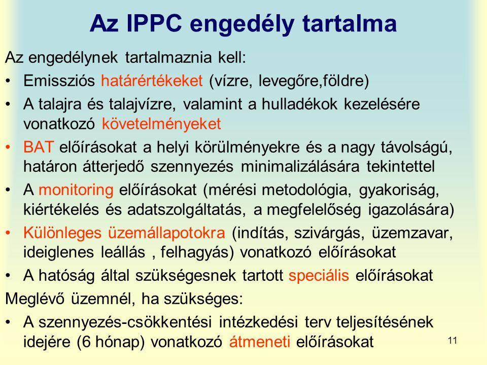11 Az IPPC engedély tartalma Az engedélynek tartalmaznia kell: Emissziós határértékeket (vízre, levegőre,földre) A talajra és talajvízre, valamint a h