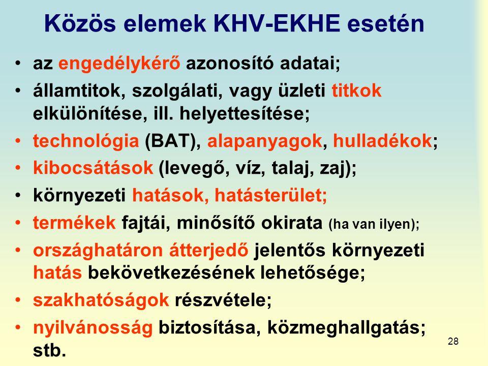 28 Közös elemek KHV-EKHE esetén az engedélykérő azonosító adatai; államtitok, szolgálati, vagy üzleti titkok elkülönítése, ill. helyettesítése; techno