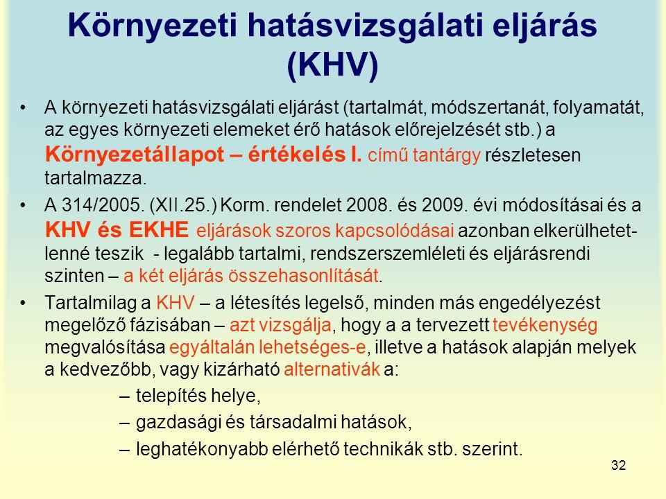 32 Környezeti hatásvizsgálati eljárás (KHV) A környezeti hatásvizsgálati eljárást (tartalmát, módszertanát, folyamatát, az egyes környezeti elemeket é