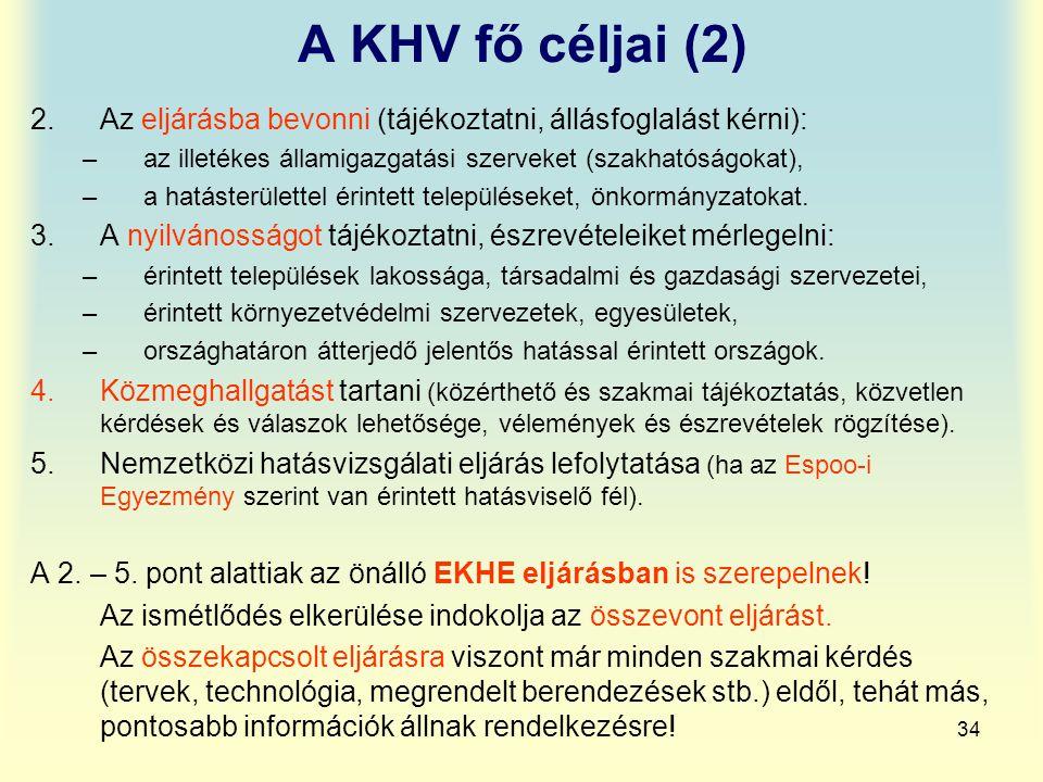 34 A KHV fő céljai (2) 2.Az eljárásba bevonni (tájékoztatni, állásfoglalást kérni): –az illetékes államigazgatási szerveket (szakhatóságokat), –a hatá