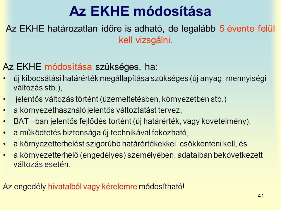 41 Az EKHE módosítása Az EKHE határozatlan időre is adható, de legalább 5 évente felül kell vizsgálni. Az EKHE módosítása szükséges, ha: új kibocsátás