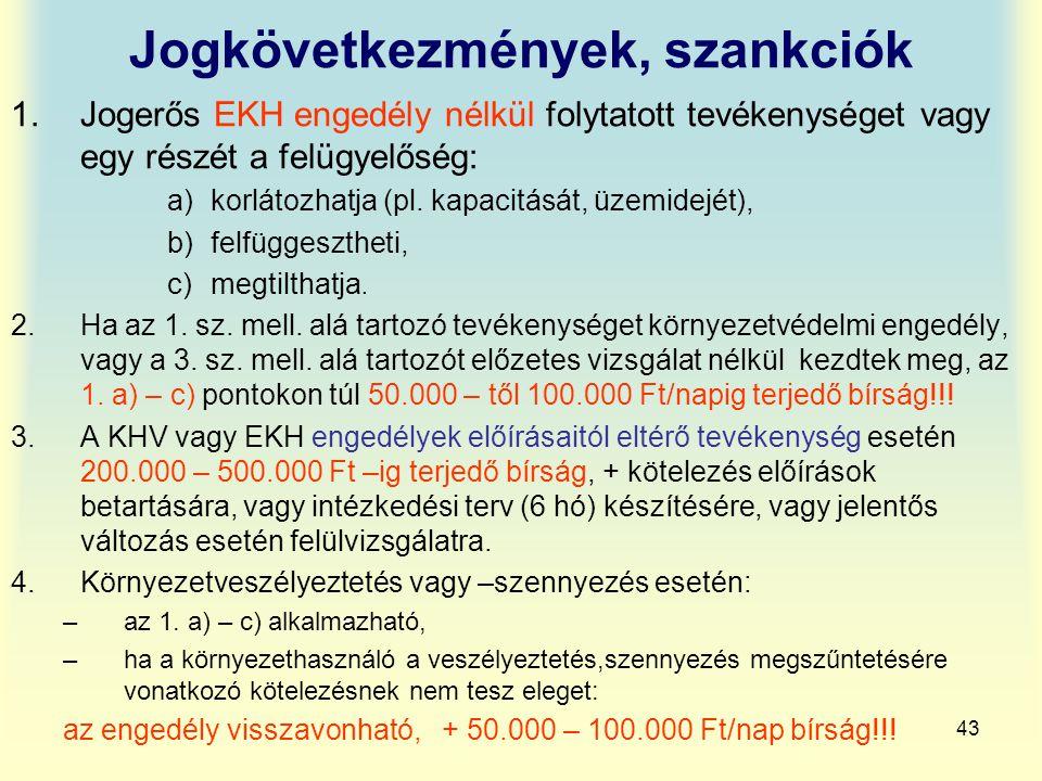 43 Jogkövetkezmények, szankciók 1.Jogerős EKH engedély nélkül folytatott tevékenységet vagy egy részét a felügyelőség: a)korlátozhatja (pl. kapacitásá