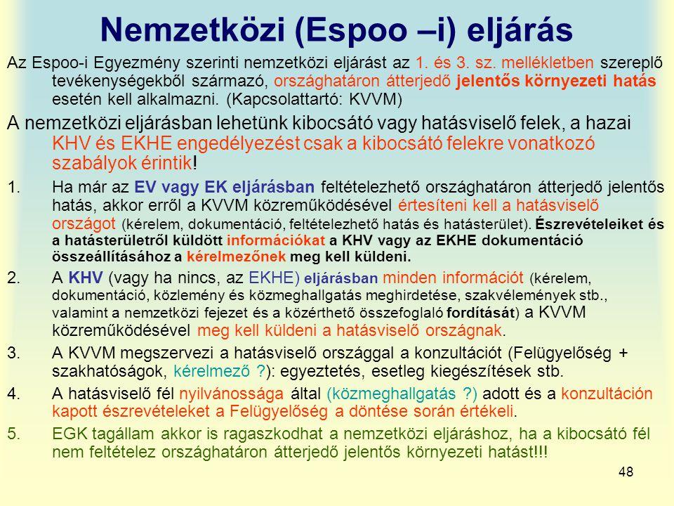 48 Nemzetközi (Espoo –i) eljárás Az Espoo-i Egyezmény szerinti nemzetközi eljárást az 1. és 3. sz. mellékletben szereplő tevékenységekből származó, or