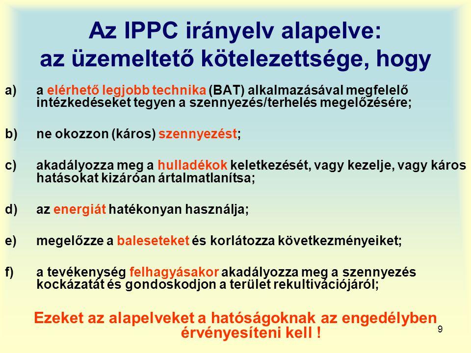 9 Az IPPC irányelv alapelve: az üzemeltető kötelezettsége, hogy a)a elérhető legjobb technika (BAT) alkalmazásával megfelelő intézkedéseket tegyen a s