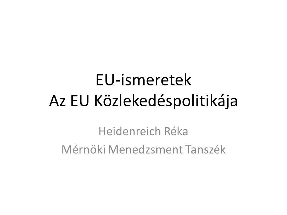 Az Európai Unió közlekedéspolitikája Mint ágazati politika már megfogalmazódik az 1957-es Római Szerződésben Ennek ellenére csak nemzeti hatáskörben és nemzeti keretek között formálódott 1985-ben a Bizottság tétlenség vádjával illette a Tanácsot az addigi közlekedéspolitika miatt 1985 Fehér Könyv: fejlődési fokozatok, határidők megállapítása 1985-től kezdődött a hatékony korszak