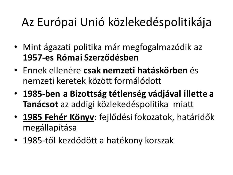 Az Európai Unió közlekedéspolitikája Mint ágazati politika már megfogalmazódik az 1957-es Római Szerződésben Ennek ellenére csak nemzeti hatáskörben é