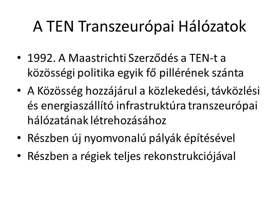 A TEN Transzeurópai Hálózatok 1992. A Maastrichti Szerződés a TEN-t a közösségi politika egyik fő pillérének szánta A Közösség hozzájárul a közlekedés