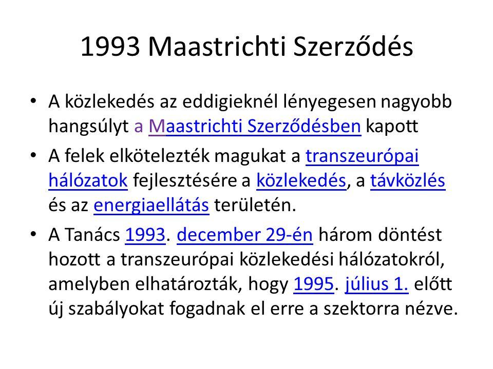 1993 Maastrichti Szerződés A közlekedés az eddigieknél lényegesen nagyobb hangsúlyt a Maastrichti Szerződésben kapottaastrichti Szerződésben A felek e