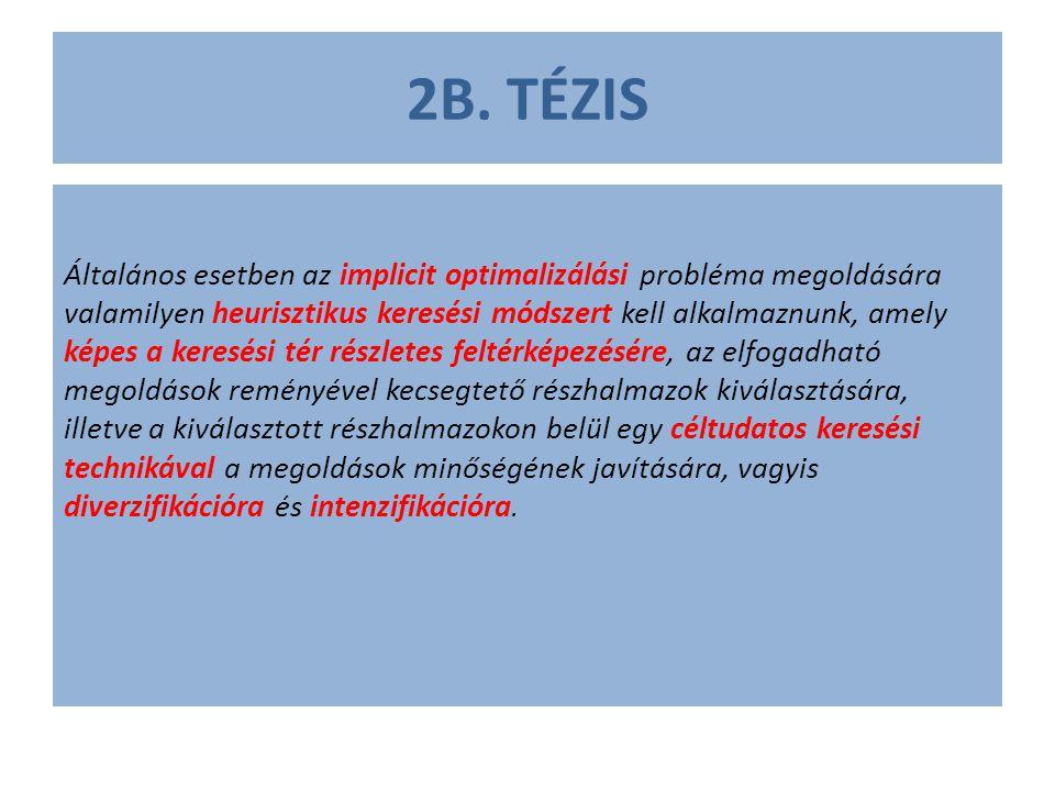 2B. TÉZIS Általános esetben az implicit optimalizálási probléma megoldására valamilyen heurisztikus keresési módszert kell alkalmaznunk, amely képes a