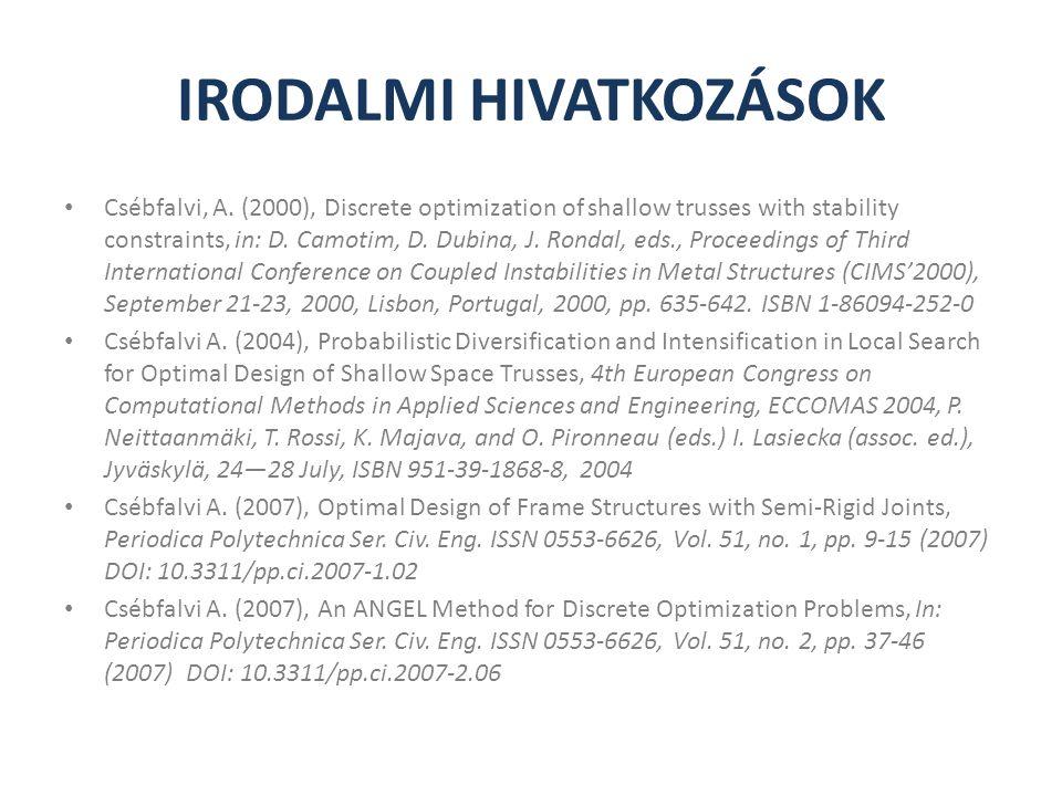 IRODALMI HIVATKOZÁSOK Csébfalvi, A. (2000), Discrete optimization of shallow trusses with stability constraints, in: D. Camotim, D. Dubina, J. Rondal,