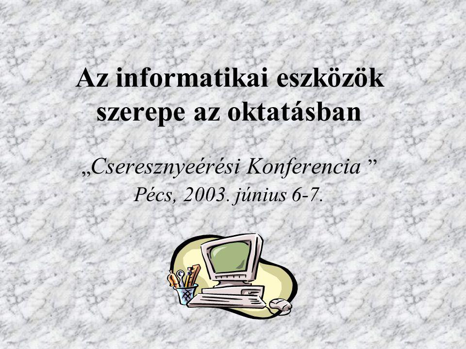 """Az informatikai eszközök szerepe az oktatásban """" Cseresznyeérési Konferencia Pécs, 2003."""