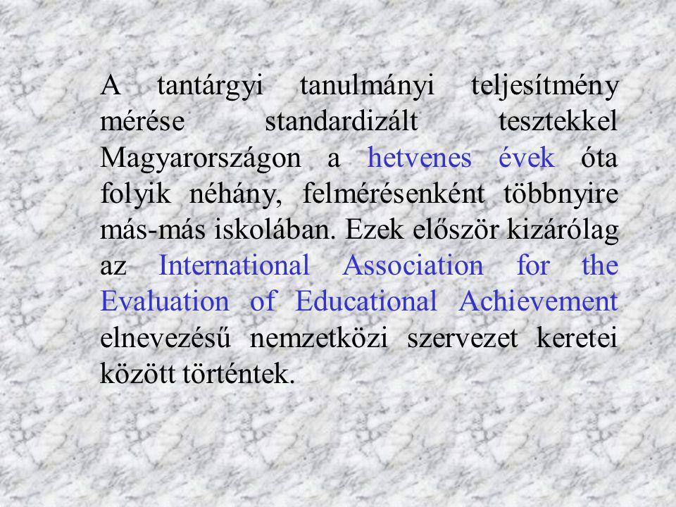 A tantárgyi tanulmányi teljesítmény mérése standardizált tesztekkel Magyarországon a hetvenes évek óta folyik néhány, felmérésenként többnyire más-más iskolában.
