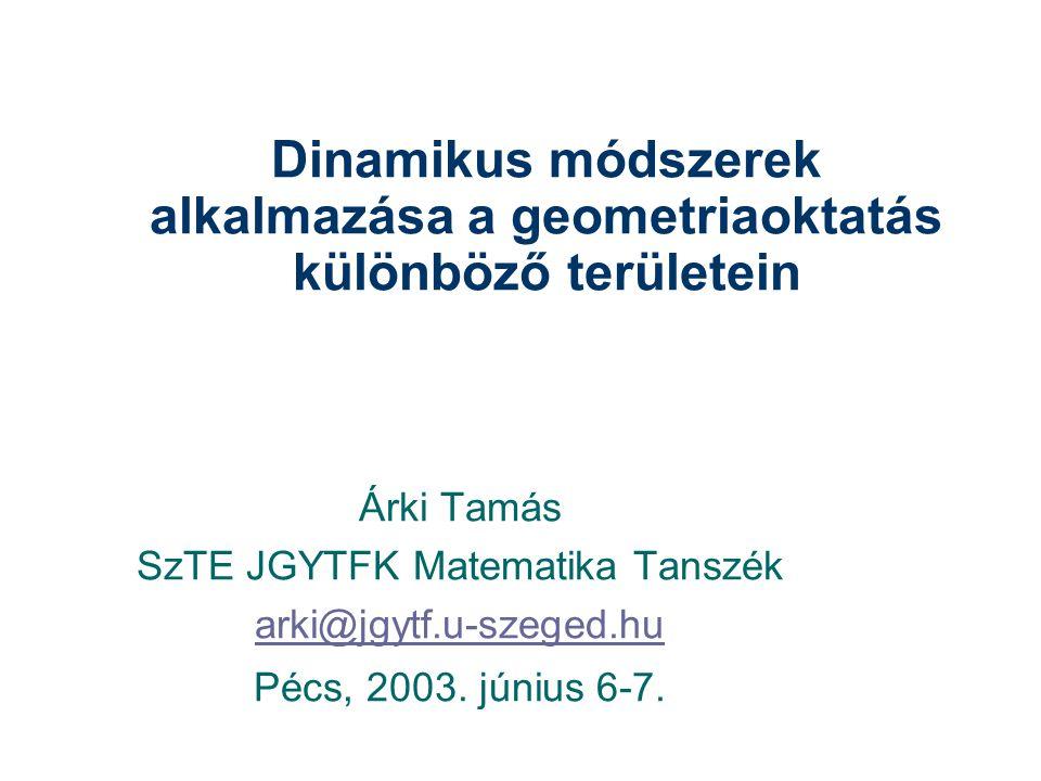 Dinamikus módszerek alkalmazása a geometriaoktatás különböző területein Árki Tamás SzTE JGYTFK Matematika Tanszék arki@jgytf.u-szeged.hu Pécs, 2003.