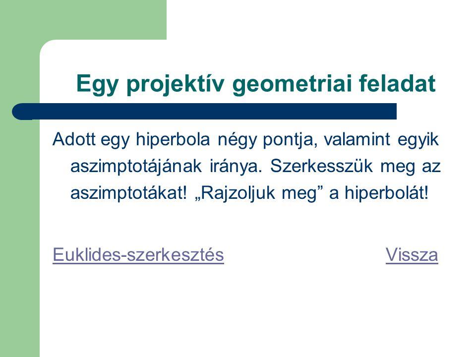 Egy projektív geometriai feladat Adott egy hiperbola négy pontja, valamint egyik aszimptotájának iránya.