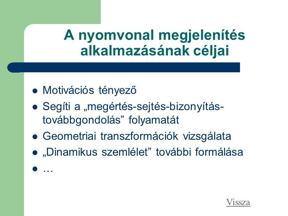 """A nyomvonal megjelenítés alkalmazásának céljai Motivációs tényező Segíti a """"megértés-sejtés-bizonyítás- továbbgondolás folyamatát Geometriai transzformációk vizsgálata """"Dinamikus szemlélet további formálása … Vissza"""