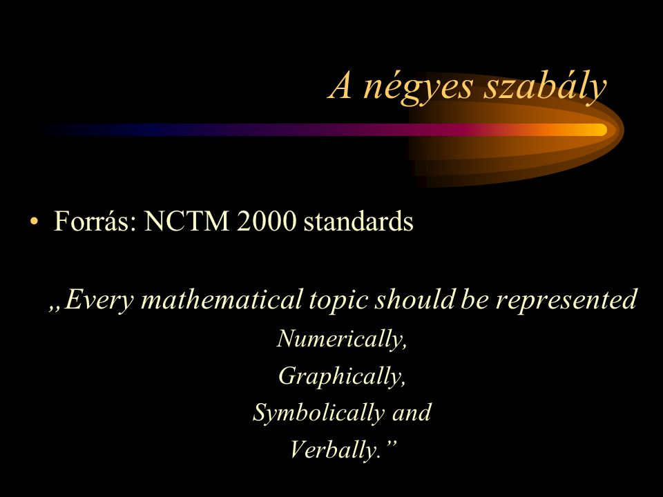 "A négyes szabály Forrás: NCTM 2000 standards ""Every mathematical topic should be represented Numerically, Graphically, Symbolically and Verbally."