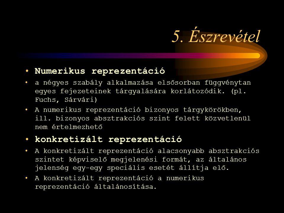 5. Észrevétel Numerikus reprezentáció a négyes szabály alkalmazása elsősorban függvénytan egyes fejezeteinek tárgyalására korlátozódik. (pl. Fuchs, Sá