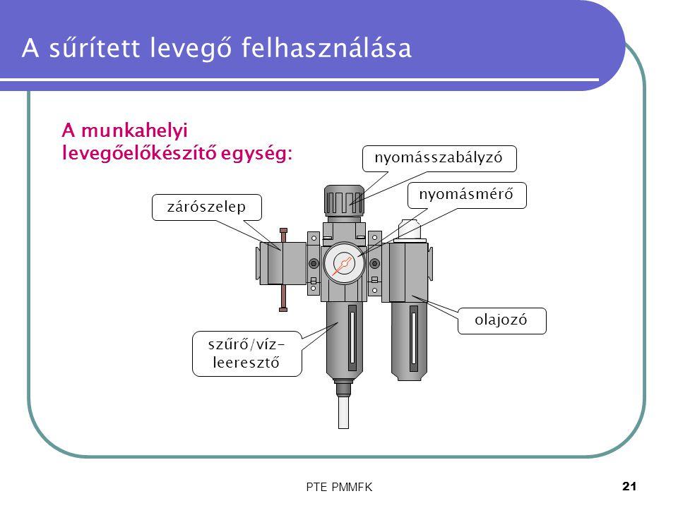 PTE PMMFK21 A sűrített levegő felhasználása A munkahelyi levegőelőkészítő egység: zárószelep nyomásmérő szűrő/víz- leeresztő nyomásszabályzó olajozó