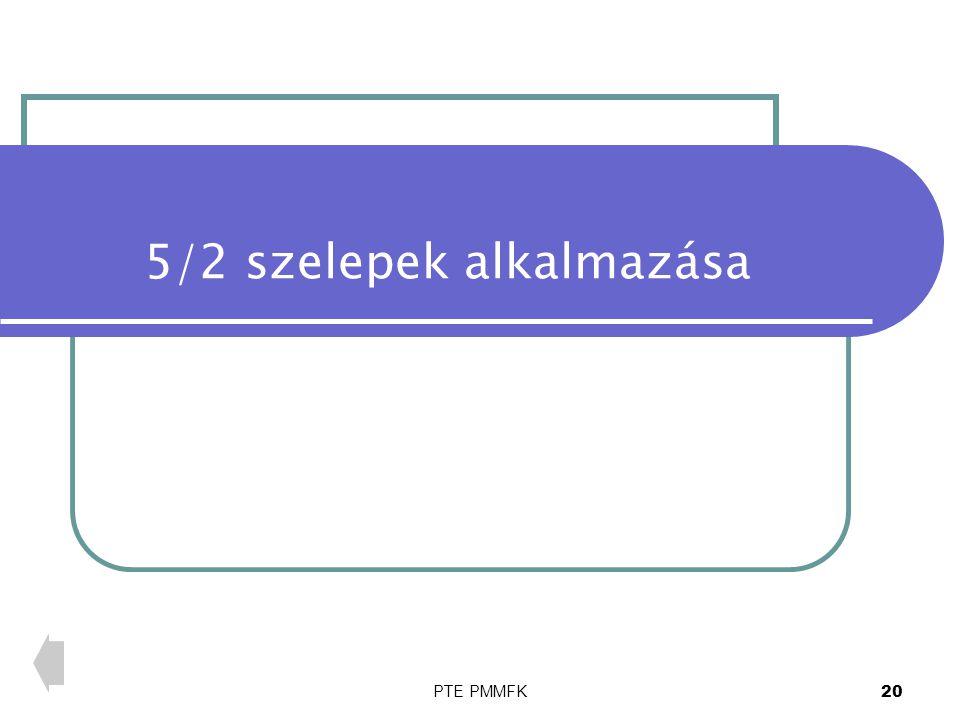 PTE PMMFK 20 5/2 szelepek alkalmazása