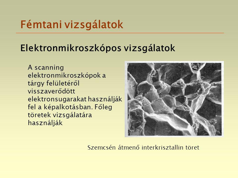 Fémtani vizsgálatok Elektronmikroszkópos vizsgálatok A scanning elektronmikroszkópok a tárgy felületéről visszaverődött elektronsugarakat használják f