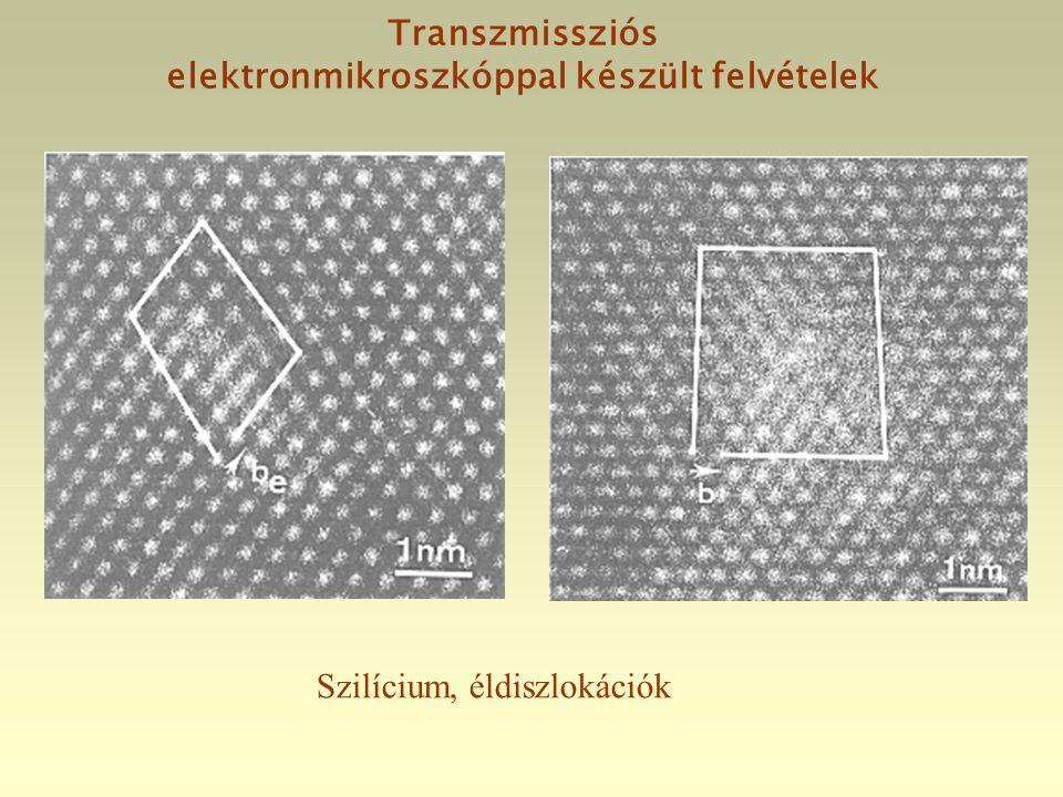 Transzmissziós elektronmikroszkóppal készült felvételek Szilícium, éldiszlokációk