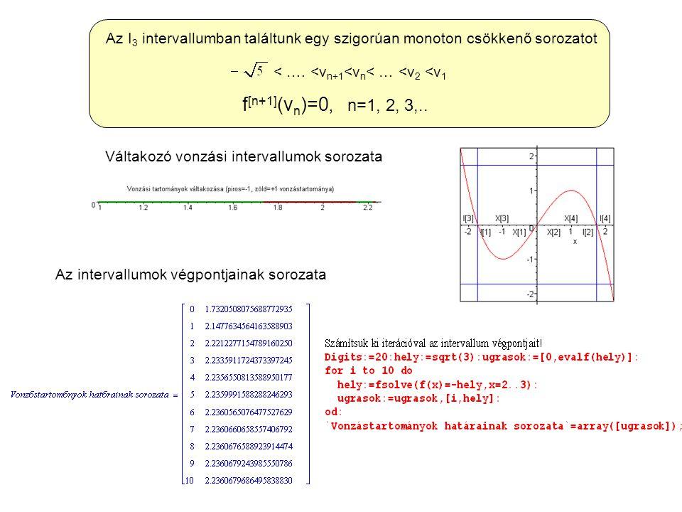 < …. <v n+1 <v n < … <v 2 <v 1 f [n+1] (v n )=0, n=1, 2, 3,.. Az I 3 intervallumban találtunk egy szigorúan monoton csökkenő sorozatot Váltakozó vonzá