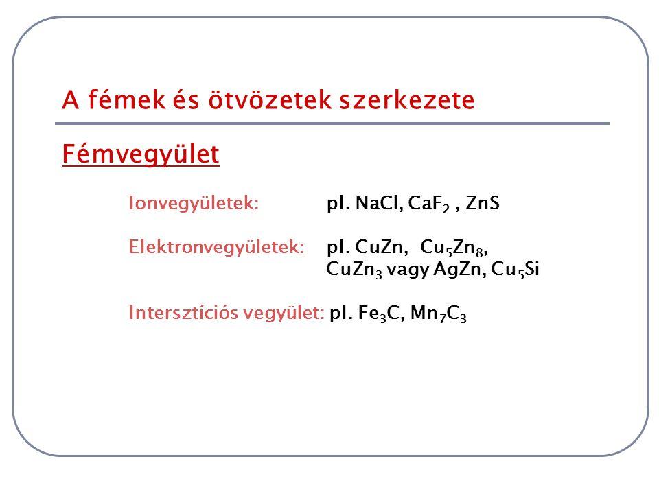 Fémvegyület A fémek és ötvözetek szerkezete Ionvegyületek: pl. NaCl, CaF 2, ZnS Elektronvegyületek: pl. CuZn, Cu 5 Zn 8, CuZn 3 vagy AgZn, Cu 5 Si Int