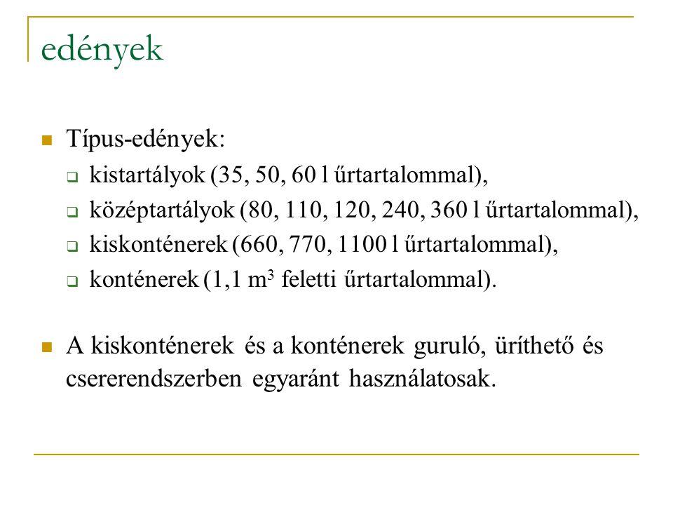 edények Típus-edények:  kistartályok (35, 50, 60 l űrtartalommal),  középtartályok (80, 110, 120, 240, 360 l űrtartalommal),  kiskonténerek (660, 7