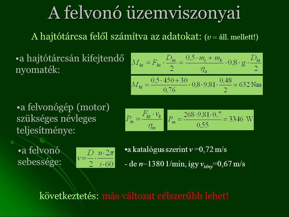 A felvonó üzemviszonyai A hajtótárcsa felől számítva az adatokat: (v = áll.