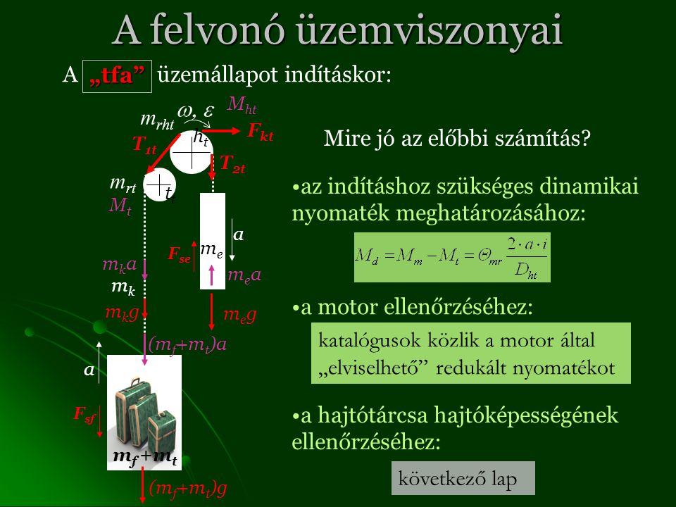 """A felvonó üzemviszonyai A üzemállapot indításkor: T 1t T 2t F kt F sf F se megmeg (m f +m t )g mkgmkg m f +m t meme htht mkmk t m rt m rht a a """"tfa mkamka (m f +m t )a meamea MtMt M ht Mire jó az előbbi számítás."""