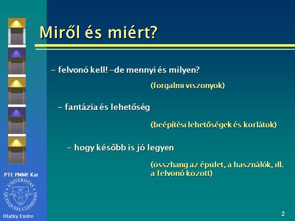 PTE PMMF Kar Hlatky Endre 2 Miről és miért? - felvonó kell! –de mennyi és milyen? (forgalmi viszonyok) - fantázia és lehetőség (beépítési lehetőségek