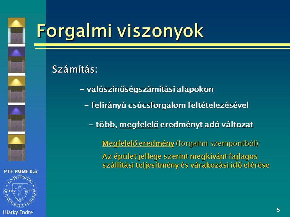 PTE PMMF Kar Hlatky Endre 5 Forgalmi viszonyok Számítás: - valószínűségszámítási alapokon - felirányú csúcsforgalom feltételezésével - több, megfelelő