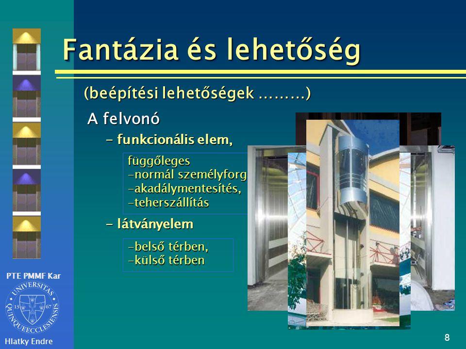 PTE PMMF Kar Hlatky Endre 8 - funkcionális elem, A felvonó függőleges -normál személyforgalom, -akadálymentesítés, -teherszállítás (beépítési lehetősé