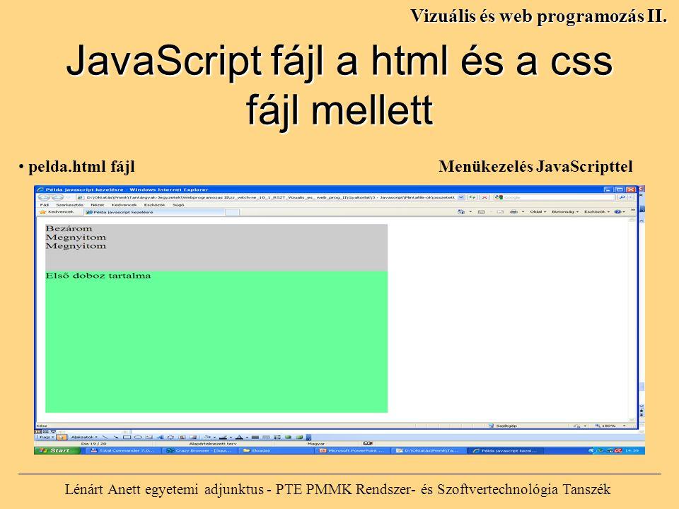 Lénárt Anett egyetemi adjunktus - PTE PMMK Rendszer- és Szoftvertechnológia Tanszék Vizuális és web programozás II.
