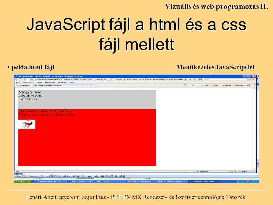 Lénárt Anett egyetemi adjunktus - PTE PMMK Rendszer- és Szoftvertechnológia Tanszék Vizuális és web programozás II. JavaScript fájl a html és a css fá